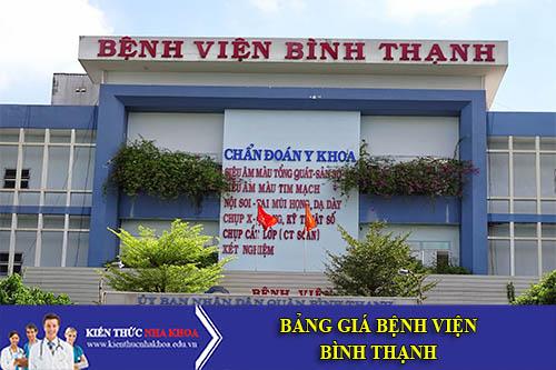 Bảng Giá Bệnh Viện Bình Thạnh - 112AB Đinh Tiên Hoàng, P. 1, Q. Bình Thạnh