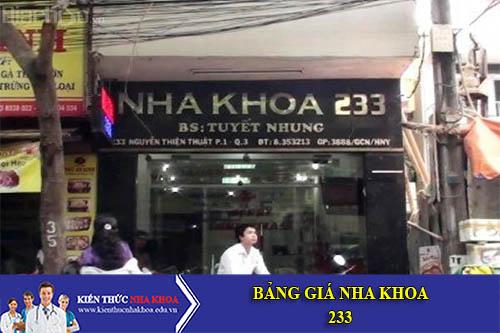 Bảng Giá Nha Khoa 233 - 233 Nguyễn Thiện Thuật, Phường 1, Quận 3