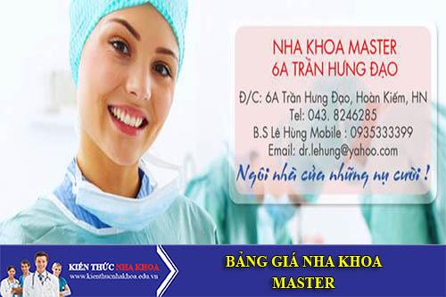 Bảng Giá Nha Khoa Master - 6A Trần Hưng Đạo, Hoàn Kiếm, Hà Nội