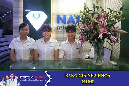 Bảng Giá Nha khoa Nami - số 33 phố Khương Trung cũ, Q. Thanh Xuân