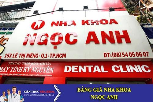 Bảng Giá Nha Khoa Ngọc Anh - 153 Lê Thị Riêng P.Bến Thành. Quận 1