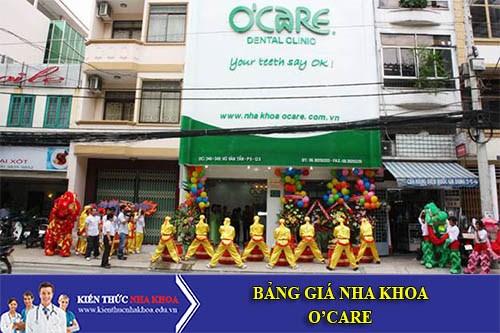 Bảng Giá Nha Khoa O'care - 346 Võ Văn Tần,P .5, Q.3