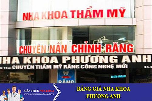 Bảng Giá Nha Khoa Phương Anh - 520 Ngã tư Khuất Duy Tiến, Thanh Xuân