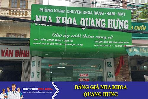 Bảng Giá Nha Khoa Quang Hưng - Ngã ba chợ Tân Lập - Đan Phượng