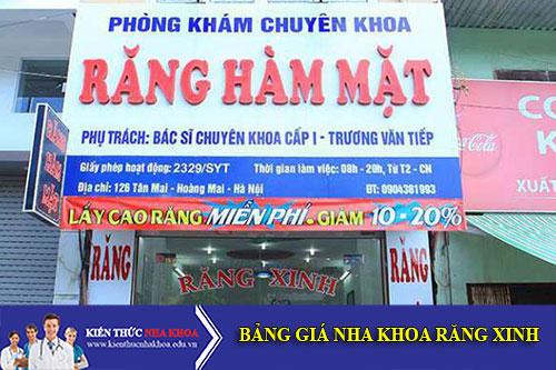 Bảng Giá Nha Khoa Răng Xinh - Số 126 Tân Mai, Q. Hoàng Mai