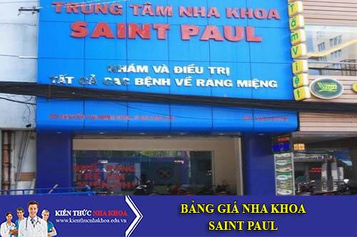 Bảng Giá Nha Khoa Saint Paul - 50 Nguyễn Thị Minh Khai, P. Đa Kao, Q. 1