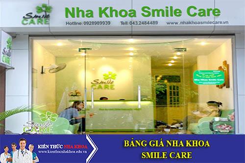 Bảng Giá Nha Khoa Smile Care - 30 Nguyên Hồng, P. Láng Hạ, Q. Đống Đa