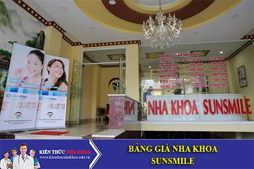Bảng giá Nha khoa Sunsmile - 189A - 189B Nguyễn Chí Thanh, Phường 12, Quận 5