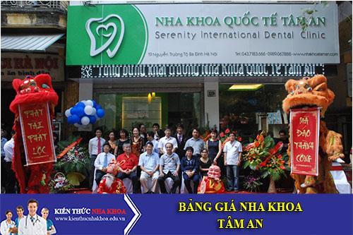 Bảng Giá Nha Khoa Tâm An - 9 Nguyễn Trường Tộ, P. Nguyễn Trung Trực, Ba Đình
