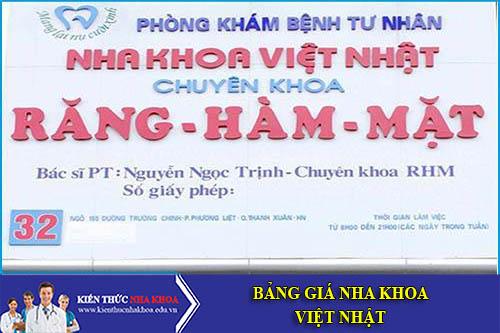 Bảng Giá Nha Khoa Việt Nhật - 12C, Láng Hạ, Ba Đình