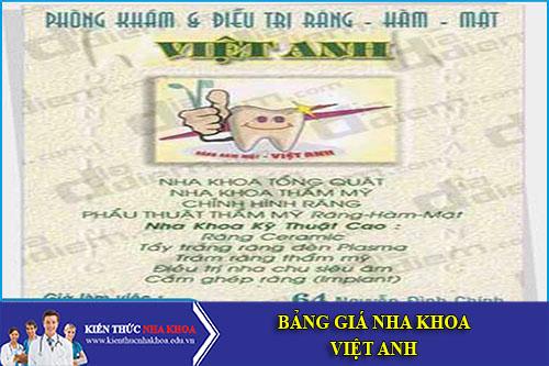 Bảng Giá Nha Khoa Việt Anh - Số 6/259 Xã Đàn, Q. Đống Đa